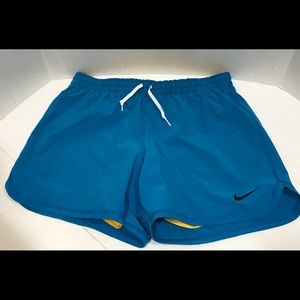 NIKE Blue Dri Fit Shorts with Yellow Slider S